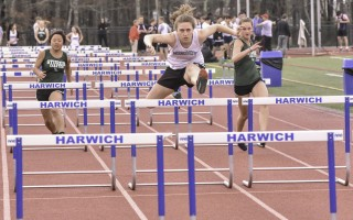 Monomoy's Tara Barry posts a winning performance in the 100 hurdles, winning with a time of 17.9 in her team's May 17 meet against Sturgis. Kat Szmit Photo  (photo: )