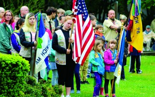 Members of the Girls' and Boys' scout troops in Harwich served as the Color Guard during the Memorial Day Ceremony in Brooks Park on Monday.  WILLIAM F. GALVIN PHOTO  (photo: William F. Galvin)