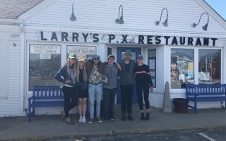 "The crew of ""Man of War"" at Larry's PX in West Chatham. From left, Stephanie Fine (producer), Abigail Schwarz (writer/director), Ricardo Varona (cinematographer), Tony Yang (producer), Jungyoon Kim (producer), Christina Wood (co-producer); not pictured is Margaux Maeght (production designer). COURTESY PHOTO  (photo: )"