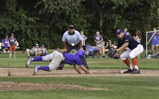Chatham's John Rave (3) dives back to first just ahead of the throw during game play against the Y-D Red Sox at Red Wilson Field on July 27. Kat Szmit Photo 