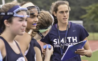 Jennifer Estes, Monomoy field hockey's new head coach, keeps a sharp eye on players in action during a preseason scrimmage at Barnstable on Sept. 3. Kat Szmit Photo  (photo: )