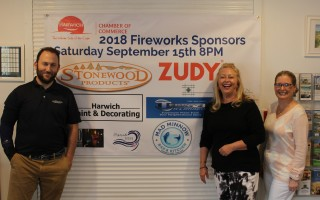 Jason Hogan, marketing director for Stonewood Products, and Trish Kennedy, CEO of ZUDY, join with Cyndi Williams, executive director of the Harwich Chamber of Commerce, in publicizing the fireworks show planned for Saturday night in conjunction with the Harwich Cranberry Festival. Stonewood Products and ZUDY are the Presenting Sponsors of the fireworks show. WILLIAM F. GALVIN PHOTO  (photo: William F. Galvin)