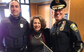 Yarmouth Police Officer Nicholas Ambrosini, Kim Roderiques and Yarmouth Deputy Chief Steven Xiarhos. DEBRA LAWLESS PHOTO  (photo: )