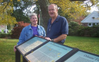 Pat Perry and Ron Petersen are co-chairs of the Orleans Historic Markers Committee, which last week placed three information panels about the town's founding outside Snow Library. ED MARONEY PHOTO  (photo: )