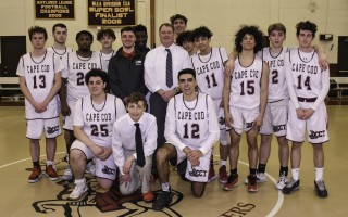 "The 2019-2020 Cape Tech boys varsity basketball team celebrates with a team photo after becoming the last team at Cape Tech to play an official game in what's becoming known as the ""old gym."" The new school, with a new gym, is set to open in September. Kat Szmit Photo  (photo: )"