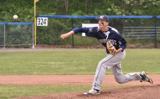 Monomoy grad David Nichols is making a name for himself with the UMass Dartmouth Corsairs, throwing a quartet of Ks in his first start with the team. Kat Szmit Photo  (photo: Kat Szmit)