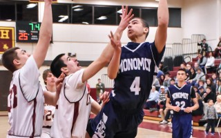 Monomoy's Isaiah Stafford (4) executes a soaring layup to score for the Sharks against Cape Tech on Feb. 16. Kat Szmit Photo  (photo: Kat Szmit)