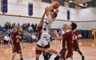 Monomoy's Chris Mazulis (11) takes it to the hoop against Cape Tech in a recent game. Motivated by doubters, Mazulis has become one of his team's top players. Kat Szmit Photo  (photo: Kat Szmit)