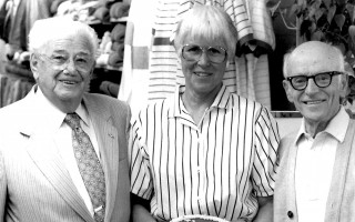 Puritan Clothing celebrated Founder's Day, honoring the 90th birthday of Abraham Fenn, left, celebrating with Marge Long and Ben Shufro. 1987. FILE PHOTO  (photo: )
