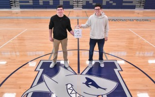 Riley Demanche and Jason Masiello are Monomoy High School's MIAA ambassadors and are working to raise funds to help district families in need through the Shark Fund.  KAT SZMIT PHOTO  (photo: Kat Szmit)