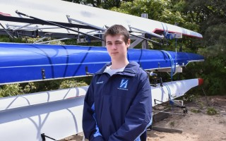 Jacob Awalt of Harwich became both a top rower and a formidable defenseman on the Nauset ice hockey team during his four years at the school. Kat Szmit Photo  (photo: )
