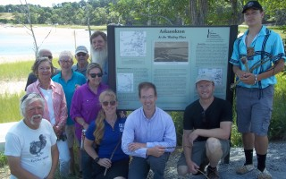 "At the dedication of a new sign at Askaonkton, or ""Wading Place,"" now known as Muddy Creek, are, front, Scott Tappan, Samantha Stone, Mike Lach, Matt Cannon, Nookahshun; Eunice Burley, Corliss Primavera, back row, Gary Primavera (partially obscured), Beth Eldridge Fletcher, Mark Simonitsch and Todd Kelley. LEE ROSCOE PHOTO  (photo: Lee Roscoe)"