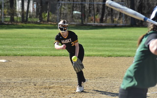 Nauset senior pitcher Hailey Richardson delivers a pitch to home plate during the team's season opener against Dennis-Yarmouth on Friday in North Eastham. BRAD JOYAL PHOTO  (photo: )