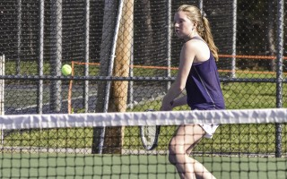 Monomoy's Hannah Marty keeps her eye on the ball during doubles action against Falmouth on Monday. Kat Szmit Photo  (photo: )