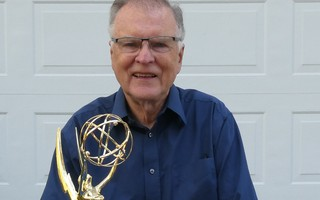 Chatham resident Michael Tompsett with the first digital camera and the Emmy Award he received for his development of the imaging sensor chip. COURTESY PHOTO  (photo: )