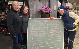 Sassy Richardson of The Farm, left, celebrates another successful Lower Cape Outreach Council turkey drive with Sarah K. Sullivan, center, and J.J. Kelly.  CONTRIBUTED PHOTO  (photo: )