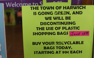 The signs posted in the Stop & Shop in East Harwich explain the reason for the shift away from plastic bags in the store. WILLIAM F. GALVIN PHOTO  (photo: William F. Galvin)