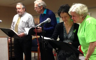 Members of the Cape Cod Theatre of the Air rehearse for their show Sunday at the Eldredge Public Library. From left: Scott Hamilton, John Padgett, Kathy Hamilton and Jane Taylor. DEBRA LAWLESS PHOTO 