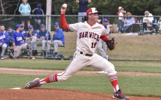 Harwich pitcher Ryan McAuliffe was in top form against the Chatham Anglers last Thursday, leading the Mariners to a 6-0 win in which the A's were allowed just four hits. Kat Szmit Photo  (photo: Kat Szmit)