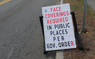 "A sign of the times. The sign outside Harwich Town Hall states a serious need in this community. ""Face Coverings Required."" WILLIAM F. GALVIN PHOTO  (photo: )"