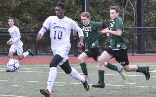 Monomoy's Akeem Bucknor (10) takes off with the ball en route to one of the five goals he scored in the Sharks' 5-1 win against Sturgis West. Kat Szmit Photo  (photo: Kat Szmit)