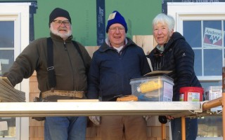 John Karr of Chatham, Father Joe Towle of Harwich and Joanne Broderick of Orleans at a Brewster Habitat for Humanity project. DEBRA LAWLESS PHOTO  (photo: )