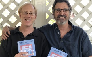 Chronicle Editor Tim Wood and Shark Cove artist Richard Tichnor with copies of a new collection of the weekly cartoon. ROWAN WOOD PHOTO  (photo: Rowan Wood)