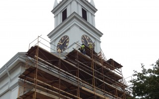 Scaffolding was constructed across the front facade of the First United Methodist Church last week. TIM WOOD PHOTO  (photo: )