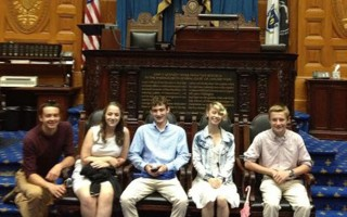 James Otis Scholars Grace Drake, Sean Walsh, Jack Watson, Julianna Locantore, and Graham Smith at the Statehouse.  (photo: )