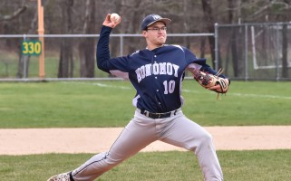Monomoy pitcher Owen Cottle steps into a strike for the Sharks in their game last Wednesday (April 19) against D-Y. Kat Szmit Photo  (photo: )