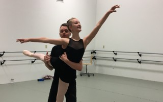 "Monica Welchman as Clara and professional dancer Matt Van as Young Sea Captain in ""The Sea Captain's Nutcracker"" rehearsal at Turning Pointe Dance Studio, Falmouth.  (photo: )"