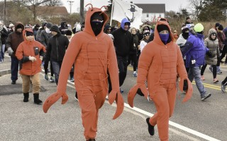 A pair of bundled-up lobsters makes its way along Stage Harbor Road after the official start of the 2018 Turkey Trot, held Thanksgiving morning in Chatham. Kat Szmit Photo  (photo: )