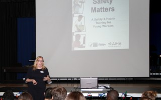 Jennifer Maclachlan talks to Monomoy seventh graders about occupational safety. ALAN POLLOCK PHOTO  (photo: Alan Pollock)
