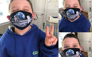 Camden, a 7-year-old space enthusiast from Sandwich, shows off the Lunar Landing mask he received from the Dennis-Harwich Lions Club Make-A-Mask Challenge, happening now. Courtesy Photo  (photo: )