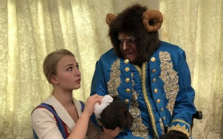 "Madison Mayer as Belle and Alex G. Boyle as Beast in Cape Cod Theatre Company's ""Beauty and the Beast.""  (photo: )"