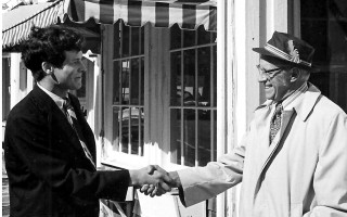 Ben Muse, left, candidate for State Representative from the 2nd Barnstable District  and Tom Corrigan, Chairman of the Chatham  Democratic  Town  Committee,  stand in front  of the just opened Democratic Headquarters In Chatham. 1972. FILE PHOTO.  (photo: )