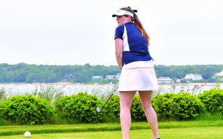 Monomoy's Maddie Leonard surveys a tee at Eastward Ho! during the MIAA Girls Golf State Championship on Tuesday. The Sharks placed third overall.  (photo: Kat Szmit)