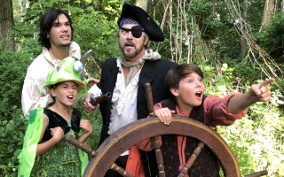 "Seamus Sartin as Billy Bones, Samantha Hatch as Captain Flint the Parrot, David Wallace as Long John Silver and Jamison Zapple as Jim Hawkins in ""Treasure Island"" at the Cape Cod Theatre Company/Harwich Junior Theatre. COURTESY PHOTO  (photo: )"