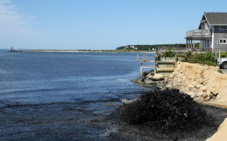 The Barnstable County Dredge Codfish (in distance) pumps sand on Cockle Cove Beach.  ALAN POLLOCK PHOTO  (photo: Alan Pollock)