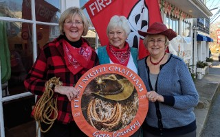First Night volunteers (from left) Sue Simpson, Bette Hahner and Deborah Clark are hankerin' to sell some buttons. ALAN POLLOCK PHOTO  (photo: Alan Pollock)