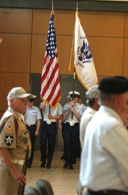 The U.S. Coast Guard's honor guard takes its place in Monday's Memorial Day observance.