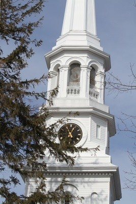 The eight-sided belfry has openings that are too narrow to accommodate the bell.