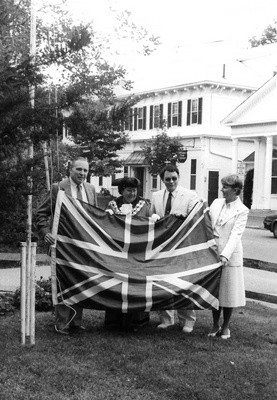 Selectman J. Norman Gledhill, Harwich, England Mayor Patricia Elleby, Selectman Freeman Allison and Selectman Juliana Peterson participate in the flag swapping ceremony in front of Harwich Town Hall in September 1985. Mayor Elleby was here to initiate the sister town initiate the union between the Harwiches. FILE PHOTO