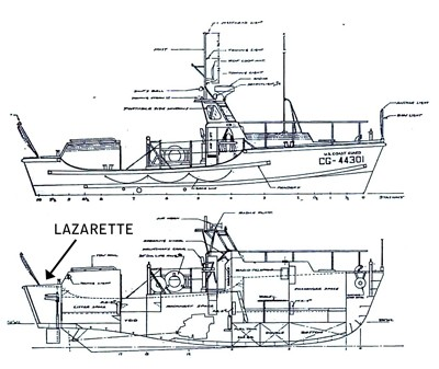 A deck plan of the retired rescue boat CG44301, showing the location of the lazarette where the body of Matthew Amsler was discovered.