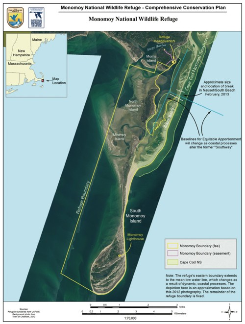 This graphic from the Monomoy National Wildlife Refuge's comprehensive conservation plan shows the western boundary as claimed by the U.S. Fish and Wildlife Service. Town and state officials counter that low water is the boundary and the agency's claim amounts to a federal land grab.