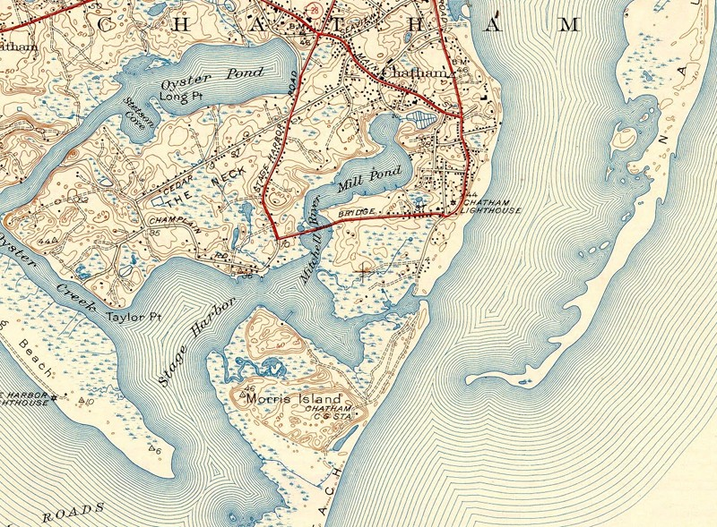 This 1940 USGS map shows the inlet between Chatham Harbor and Stage Harbor, approximately in the location of Outermost Harbor Marine. In 1957 the U.S. Army Corps of Engineers dredged Stage Harbor and used the sand to build the Morris Island causeway to the west of the spit north from Morris Island.
